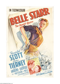 "Belle Starr (Twentieth Century Fox, 1941). One Sheet (27"" X 41""). Gene Tierney plays the title role in this Fo..."