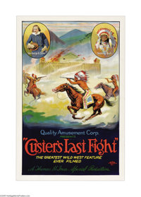 "Custer's Last Fight (Quality Amusement, R-1925). One Sheet (27"" X 41""). This beautiful stone litho is for a re..."
