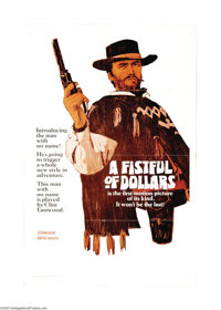 """A Fistful of Dollars (United Artists, 1966). One Sheet (27"""" X 41"""") Style A Teaser. Clint Eastwood became an in..."""
