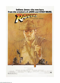 """Raiders of the Lost Ark (Paramount, 1981). Poster (40"""" X 60""""). Harrison Ford stars as Indiana Jones, the adven..."""