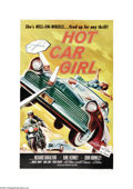 "Movie Posters:Cult Classic, Hot Car Girl (Universal, 1958). One Sheet (27"" X 41""). Juveniledelinquency was a popular theme for films in the 1950s. In t..."
