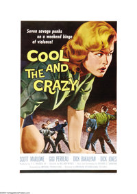 "The Cool and the Crazy (American International, 1958). One Sheet (27"" X 41""). This is one of the AIP ""you..."