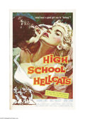 "Movie Posters:Drama, High School Hellcats (AIP, 1958). One Sheet (27"" X 41""). Soundman turned director Edward Bernds helmed this '50s bad-girl cl..."
