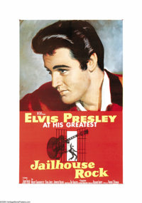 "Jailhouse Rock (MGM, 1957). One Sheet (27"" X 41""). Legend has it that Elvis never saw this movie as his young..."