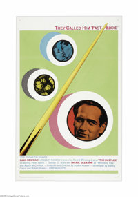 "The Hustler (20th Century Fox, R-1964). One Sheet (27"" X 41""). Paul Newman makes his first appearance as the c..."