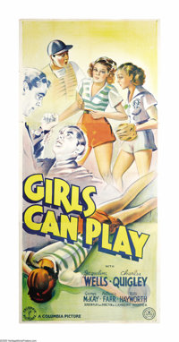 "Girls Can Play (Columbia, 1937). British Three Sheet (41"" X 81""). Rita Hayworth changed her name from Rita Can..."