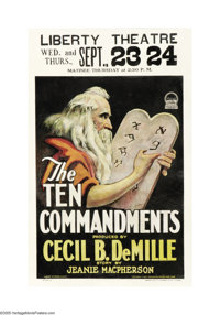 "The Ten Commandments (Paramount, 1923). Window Card (14"" X 22""). This window card is from Cecil B. DeMille's f..."