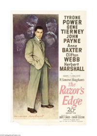 "Razor's Edge (20th Century Fox, 1946). One Sheet (27"" X 41""). Tyrone Power plays a disillusioned World War I v..."