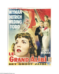 "Stage Fright (Warner Brothers, 1950). Belgian Poster (14"" x 18.5""). Mystery and murder surround this thriller..."
