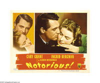 """Notorious (RKO, 1946). Lobby Card (11"""" X 14""""). Cary Grant stars as a federal agent who pushes the daughter (In..."""