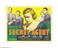 "Secret Agent (Gaumont, 1936). Title Lobby Card (11"" X 14""). John Gielgud stars as a nebbish novelist who is en..."
