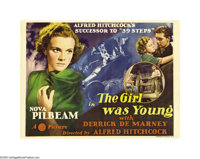 "The Girl Was Young (Gaumont, 1938). Title Lobby Card and Scene Card (1)(11"" X 14""). One of Alfred Hitchcock's..."