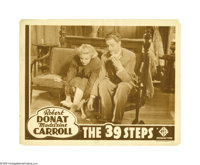 """The 39 Steps (Gaumont, R-1938). Lobby Cards (4) (11"""" X 14""""). Alfred Hitchcock's classic espionage tale starrin..."""
