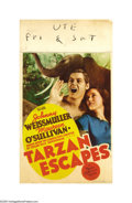 "Movie Posters:Action, Tarzan Escapes (MGM, 1936). Midget Window Card (8"" X 14""). This wasthe most controversial of the MGM Tarzan franchise pictu..."