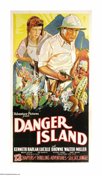 """Danger Island (Universal, R-1935). Three Sheet (41"""" X 81""""). Kenneth Harlan and Lucile Brown star in this seria..."""