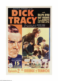 "Dick Tracy (Republic, 1937). One Sheet (27"" X 41""). Republic Studios produced some of the best serials during..."