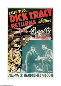 """Dick Tracy Returns (Republic, 1938). One Sheet (27"""" X 41""""). Ralph Byrd, starring as Chester Gould's famous det..."""