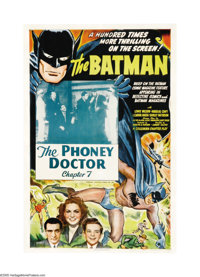 """The Batman (Columbia, 1943). One Sheet (27"""" X 41""""). Columbia's 15-episode serial was the first screen appearan..."""