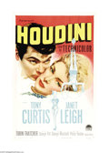 "Movie Posters:Drama, Houdini (Paramount, 1953). One Sheet (27"" X 41""). Legendary escapeartist Harry Houdini's life is chronicled in the Hollywoo..."
