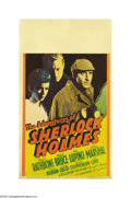"Movie Posters:Mystery, The Adventures of Sherlock Holmes (20th Century Fox, 1939). MidgetWindow Card (8"" X 14""). This was the second in a series o..."