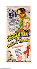 "Movie Posters:Crime, Sherlock Holmes and the Voice of Terror (Universal, 1942). Australian Daybill (13"" X 30""). Basil Rathbone and Nigel Bruce st..."