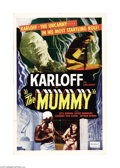 "Movie Posters:Horror, The Mummy (Realart, 1951). One Sheet (27"" X 41""). Boris Karloffstars as Im-Ho-Tep, a mummy who returns from the dead to loc..."