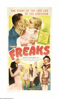 "Movie Posters:Horror, Freaks (MGM, R-1949). Three Sheet (41"" X 81""). This film, whichused actual circus sideshow ""freaks"" in its cast, was consid..."