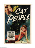 "Movie Posters:Horror, Cat People (RKO, R-1952). One Sheet (27"" X 41""). Val Lewton's styleof suspense and suggestion created a unique psychologica..."
