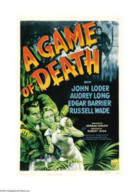 """A Game of Death (RKO, 1945). One Sheet (27"""" X 41""""). This was the first of many remakes and variations on """"..."""