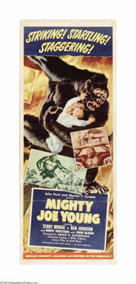 "Mighty Joe Young (RKO, 1949). Insert (14"" X 36""). Merian Cooper, the director as well as writer and producer o..."