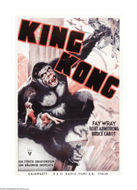 "King Kong (RKO, 1933). Swedish One Sheet (26"" X 39""). This famous Willis O'Brien film about a 50-foot rampagin..."