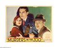 "Movie Posters:Horror, Murders in the Zoo (Paramount, 1933). Lobby Card (11"" X 14"").Lionel Atwill, an actor who came to prominence in ""Doctor X"" (..."