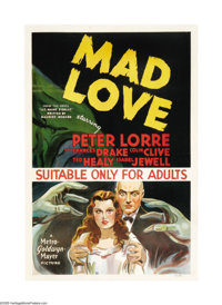 "Mad Love (MGM, 1935). Australian One Sheet (27"" X 40""). World-class cinematographer Karl Freund directed this..."