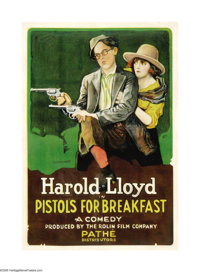 "Pistols for Breakfast (Pathe', 1919). One Sheet (27"" X 41""). This comedy short produced by Hal Roach starred H..."