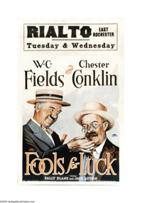 "Fools For Luck (Paramount, 1928). Window Card (14"" X 22""). W.C. Fields' last silent film reteams him with walr..."