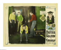 """College (United Artists, 1927). Lobby Card (11"""" X 14""""). Ronald (Buster Keaton) braces for yet another blow to..."""