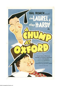 "A Chump at Oxford (United Artists, 1940). One Sheet (27"" X 41""). This film stars the famous comedic duo of Sta..."