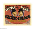 "Movie Posters:Comedy, Block-Heads (MGM, 1938). Title Lobby Card (11"" X 14""). This 1938Laurel and Hardy comedy stars the comedic duo as former dou..."