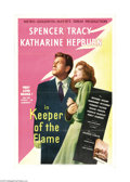 "Movie Posters:Drama, Keeper of the Flame (Loews, 1942). One Sheet (27"" X 41""). SpencerTracy and Katherine Hepburn star together for the second t..."