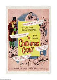 """A Christmas Carol (United Artists, 1951). One Sheet (27"""" X 41""""). Alastair Sim gives a masterful performance in..."""