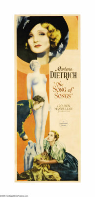 "Song of Songs (Paramount, 1933). Insert (14"" X 36""). Marlene Dietrich's name above a film's title was enough t..."