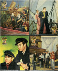 "Movie Posters:Adventure, Souls at Sea (Paramount, 1937). Jumbo Lobby Card Set of 8 (14"" X17""). Gary Cooper and George Raft star in this high seas ad... (8items)"