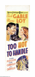 "Movie Posters:Comedy, Too Hot to Handle (MGM, 1938). Australian Daybill (15"" X 40""). In this MGM comedy, Myrna Loy stars as a famous aviatrix who ..."