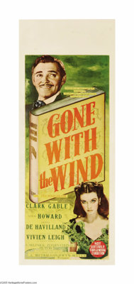 "Gone With the Wind (MGM, 1939). Australian Daybill (15"" X 40""). The winner of eleven Academy Awards and consid..."