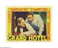"Movie Posters:Drama, Grand Hotel (MGM, 1932). Lobby Card (11"" X 14""). MGM pulled out allthe stops in this star-studded feature. Greta Garbo, Joh..."