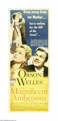 """The Magnificent Ambersons (RKO, 1942). Insert (14"""" X 36""""). This classic melodrama deals with the rise and fall..."""