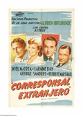 "Movie Posters:Hitchcock, Foreign Correspondent (United Artists, 1940). Argentinian One Sheet(29"" X 43"") Style B. Gary Cooper was originally asked to..."