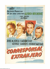 """Foreign Correspondent (United Artists, 1940). Argentinian One Sheet (29"""" X 43"""") Style B. Gary Cooper was origi..."""
