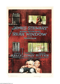 "Rear Window (Paramount, 1954). One Sheet (27"" X 41""). In this masterful Hitchcock suspense thriller, Jimmy Ste..."