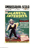 "Movie Posters:Science Fiction, Forbidden Planet (Loews-MGM, 1956). Belgian Poster (14"" X 22"").This lovely Belgian poster features the same great robot gra..."